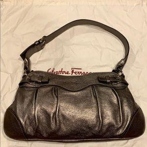 Ferragamo Metallic Gray Leather Shoulder Bag